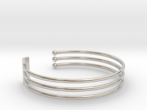 Tripple Bracelet Ø 68 mm/2.677 inch Large in Rhodium Plated