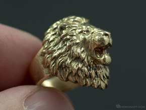 Aggressive Lion Ring in Polished Brass