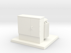 Padmount Transformer 01. HO Scale (1:87) in White Strong & Flexible Polished