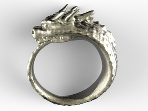 Spike Dragon's Ring in Polished Nickel Steel