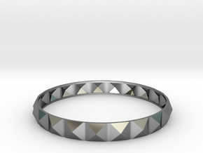 Pyramid Beveled Bangle (Hollow) in Premium Silver