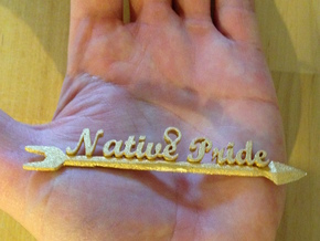 Native Pride Arrow 4 Inch Pendant in Polished Gold Steel