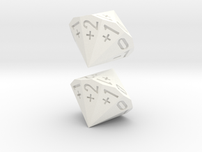 4-in-2 Fudge / Fate Dice (2d18 numbered as 4dF) in White Strong & Flexible Polished