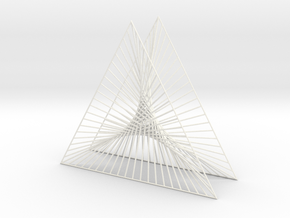 Shape Wired Parabolic Curve Art Triangle Base V1 in White Strong & Flexible Polished