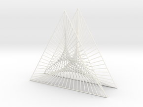 Shape Wired Parabolic Curve Art Triangle Base V2 in White Strong & Flexible Polished