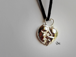 Kitten Heart Pendant in Polished Silver