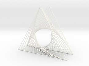 Shape Wired Parabolic Curve Art Triangle Base V3 in White Strong & Flexible Polished