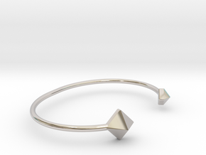 Cuff Bracelet with Geometric Pyramids of Alternate in Rhodium Plated