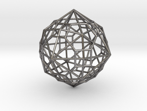 0495 Truncated Cuboctahedron + Dual in Polished Nickel Steel