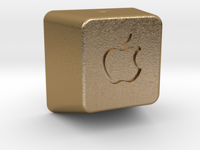 Keyboard Cap Pendant - Open Apple in Polished Gold Steel
