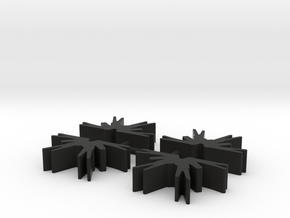 Game Piece, Dark Spiders, 4-set in Black Strong & Flexible
