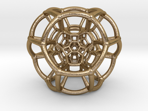 0505 Stereographic Trancated Polychora 24-cell in Polished Gold Steel
