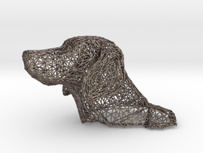 Wireframe Dog head Weimeraner in Stainless Steel