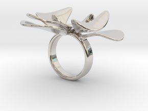 Petals ring - 20 mm in Rhodium Plated