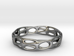 Mobius Band Bi-Organic Bracelet 65mm (001) in Polished Silver