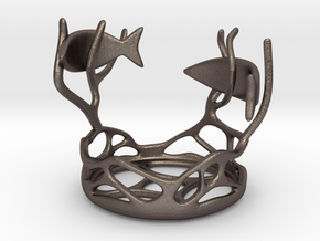Two Fishes Candlestick in Stainless Steel