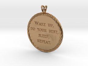 Wake Up | Jewelry Quote Necklace. in Polished Brass