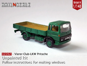 Club-of-4 Flat bed (British N 1:148) in Frosted Ultra Detail