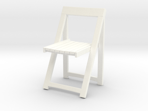 Folding wooden chair 05. 1:24 Scale in White Strong & Flexible Polished