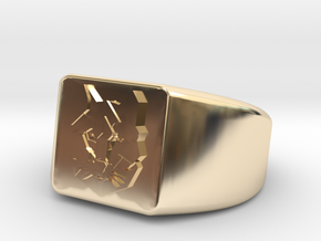 Geometric Wolf Ring in 14K Gold