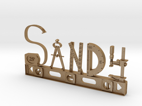 Sandy Nametag in Matte Gold Steel