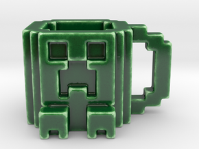 Minecraft Creeper Mug in Gloss Oribe Green Porcelain