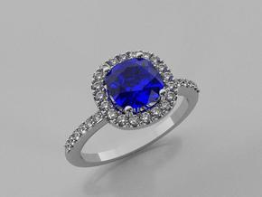 Cushion Engagement Ring in 14k White Gold