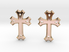 East Syriac Cross Earring Pair (25mm) in 14k Rose Gold Plated
