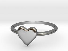 Heart-ring-solid-size-11 in Premium Silver