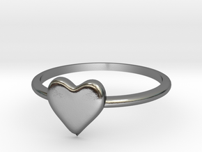Heart-ring-solid-size-12 in Polished Silver
