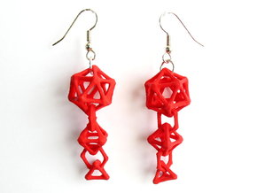 Platonic Progression Earrings - Bone in Red Strong & Flexible Polished