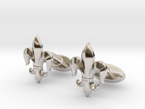 Fleur-de-lis Cufflinks in Rhodium Plated