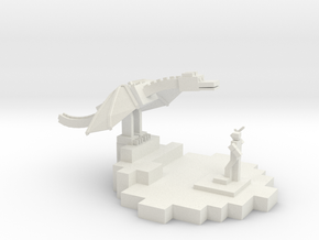 Minecraft Inspired Trophy in White Strong & Flexible