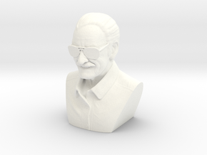 4 Inch Stan Lee Bust in White Strong & Flexible Polished