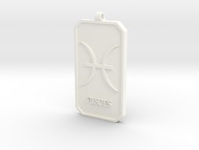 Zodiac Dogtag/KeyChain-PISCES in White Strong & Flexible Polished