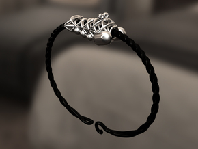 Bracelet for charms - size M (19 cm) in Black Strong & Flexible