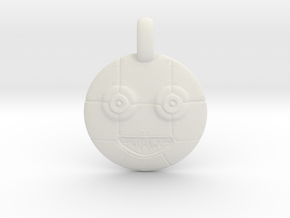 3D Sculpted Robot Head Pendant  in White Strong & Flexible
