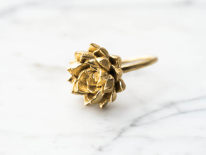 Size 8- Succulent Stacking Ring No. 5 in Raw Brass