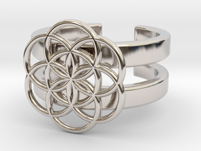 SEED OF LIFE DOUBLE BAND RING 7 in Rhodium Plated