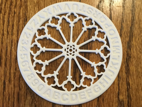 "4"" Custom Rose Window Coaster in White Strong & Flexible Polished"
