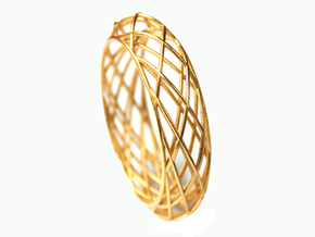 Bracelet Circles Sleek (size M) in Polished Gold Steel