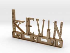 Kevin Nametag in Matte Gold Steel