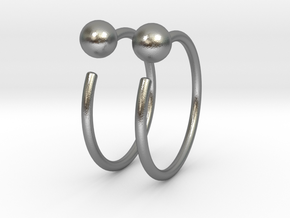 Small Ball Stud Hoops in Raw Silver