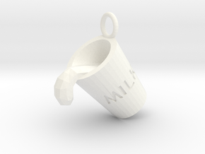 Milk Cup Friendship Pendant in White Strong & Flexible Polished