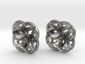 Celtic Round stud Earrings in Raw Silver