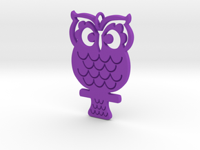 Retro Owl Pendant in Purple Strong & Flexible Polished