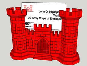 US Army Engineer Castle Business Card Holder in Red Strong & Flexible Polished