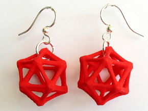Icosahedron Earrings, bone style in Red Strong & Flexible Polished