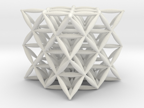 Flower Of Life 64 Tetrahedron Grid in White Strong & Flexible