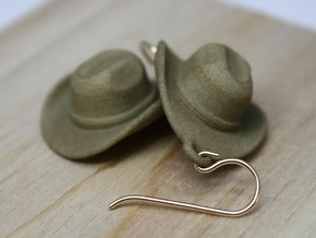 Cowboy Hat Earrings in White Strong & Flexible Polished